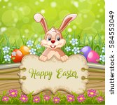 cute easter greeting card with... | Shutterstock .eps vector #584553049