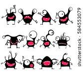 set of twelve cute black... | Shutterstock .eps vector #584553079
