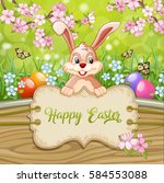 cute easter greeting card with... | Shutterstock .eps vector #584553088