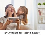 happy loving family. young... | Shutterstock . vector #584553094