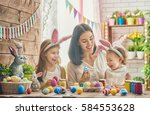 a mother and her daughter are... | Shutterstock . vector #584553628