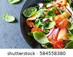 Salmon salad with spinach ...