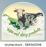 cow  in frame from splash of... | Shutterstock .eps vector #584560348