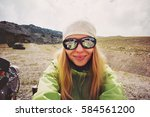 woman traveler taking selfie in ... | Shutterstock . vector #584561200