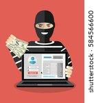 thief. hacker stealing... | Shutterstock .eps vector #584566600