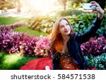top view of charming female... | Shutterstock . vector #584571538
