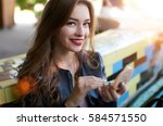 attractive sexy woman making... | Shutterstock . vector #584571550