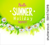 hello summer card with green...   Shutterstock .eps vector #584576098