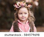 smiling kid girl 3 4 year old...   Shutterstock . vector #584579698