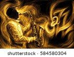 jazz saxophone player jazz... | Shutterstock . vector #584580304