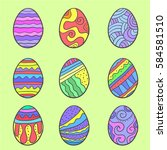 doodle of easter egg various... | Shutterstock .eps vector #584581510