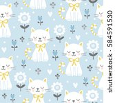 seamless pattern with cute cats ... | Shutterstock .eps vector #584591530