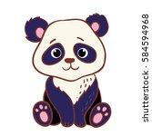 cute panda sitting on a white... | Shutterstock .eps vector #584594968