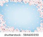cherry blossom frame blue 03 ... | Shutterstock . vector #584600350
