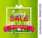 spring sale card with green... | Shutterstock .eps vector #584601130