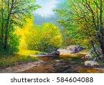 oil painting landscape  ... | Shutterstock . vector #584604088