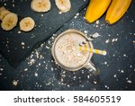 smoothies with yogurt  banana... | Shutterstock . vector #584605519
