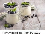 homemade natural yogurt with...   Shutterstock . vector #584606128