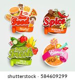 food and drink elements ... | Shutterstock .eps vector #584609299