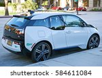 Small photo of PASADENA/CALIFORNIA - FEB. 12, 2017: BMW (Bavarian Motor Works) i3. An electric lithium-ion powered vehicle with a single-speed transmission parked along the road in Pasadena, California USA