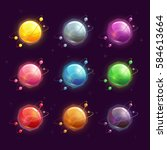 beautiful colorful planets set. ...