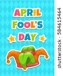 april fool's day greeting card... | Shutterstock .eps vector #584615464