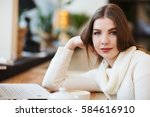 beautiful young writer college...   Shutterstock . vector #584616910