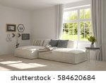 white room with sofa and green... | Shutterstock . vector #584620684