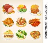 set of colorful family dinner... | Shutterstock .eps vector #584622304