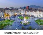 Stock photo lima peru view of san martin square 584622319