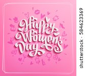 happy women's day vector card... | Shutterstock .eps vector #584623369