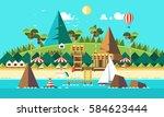 summer beach landscape. ocean ... | Shutterstock .eps vector #584623444