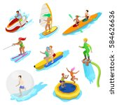 Isometric People On Water...