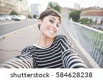 young beautiful caucasian short ... | Shutterstock . vector #584628238