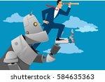 giant robot holding a... | Shutterstock .eps vector #584635363