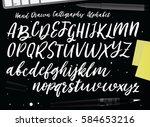 retro hand drawn alphabet.  | Shutterstock .eps vector #584653216