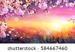 spring art background   pink... | Shutterstock . vector #584667460