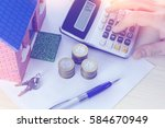 the concept of cost calculation ... | Shutterstock . vector #584670949
