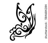 butterfly stencil pattern... | Shutterstock .eps vector #584684284