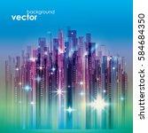 night city skyline  vector... | Shutterstock .eps vector #584684350