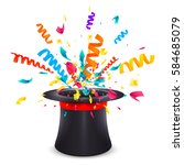 black cylinder hat with red... | Shutterstock .eps vector #584685079
