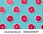 colorful fruit pattern of fresh ... | Shutterstock . vector #584685859