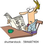 cartoon man reading the... | Shutterstock .eps vector #584687404