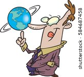 cartoon man spinning the globe | Shutterstock .eps vector #584687458