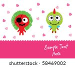 love couple monster doodle | Shutterstock .eps vector #58469002