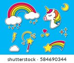 stickers set unicorn rainbow... | Shutterstock .eps vector #584690344