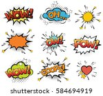 set of vector pop art signs and ... | Shutterstock .eps vector #584694919