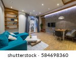 interior design of modern... | Shutterstock . vector #584698360