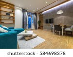 interior design of modern... | Shutterstock . vector #584698378