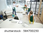 team of cleaning service... | Shutterstock . vector #584700250